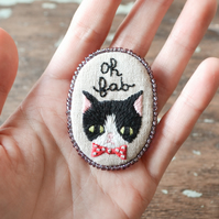 Oh Fab - Hand Embroidered Black & White Tuxedo Cat Soft Brooch - OOAK Gift