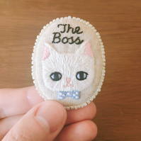 The Boss - Hand Embroidered White Cat Soft Brooch