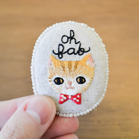 Oh Fab - Hand Embroidered Ginger Cat Soft Brooch - OOAK Gift for Cat Lover