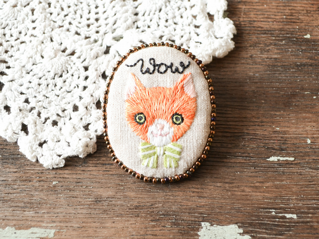 Wow - Hand Embroidered Orange Cat Soft Brooch - OOAK gift for her