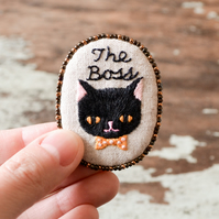 The Boss - Hand Embroidered Black Cat Soft Brooch - OOAK Gift for Cat Lady
