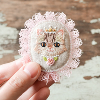 Hand Embroidered Cat Princess Soft Brooch - OOAK Gift for Cat Lover