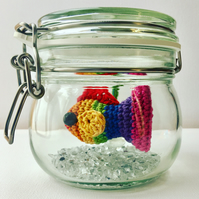 No Fuss Rainbow Fish - rainbow goldfish in a glass jar