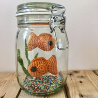 Double No Fuss Fish Jar - Two crochet Amigurumi goldfish in a mason Jar