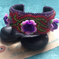 Purple Haze bead embroidered cuff bracelet, boho jewellery,