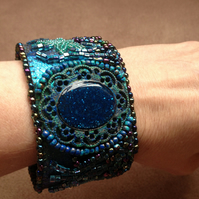 Ocean Treasure bead embroidered cuff bracelet, blue green handpainted resin cuff