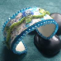 """Bluebell Walk"" turquoise, blue and green bead embroidered cuff bracelet"