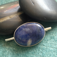 Sterling silver & blue sodalite brooch, Art Deco style, birth stone jewellery