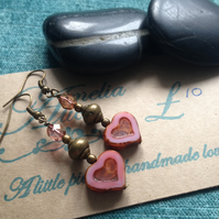Dusky pink & bronze heart earrings, beaded drop earrings, boho style