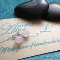 Sterling silver & rose quartz stud earrings, birthstone &  zodiac jewellery