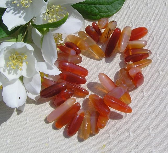 Orange Carnelian Crystal Gemstone Elasticated Chakra Bracelet