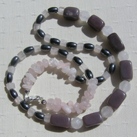 "Rose Quartz, Plum Jade & Hematite Crystal Gemstone Necklace - ""Raspberry Ripple"""