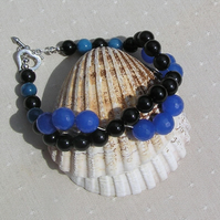 Black Onyx & Blue Jade Crystal Gemstone Wave Bracelet - Gentian