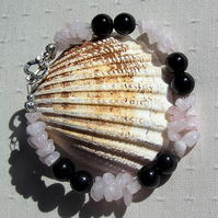 "Black Onyx & Rose Quartz Crystal Gemstone Bracelet  ""Juno"""