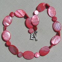 "Red Mother of Pearl Necklace - ""Fritillary"""