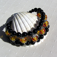 Black Onyx & Faux Amber Crystal Gemstone Cuff Bracelet - Sunrise