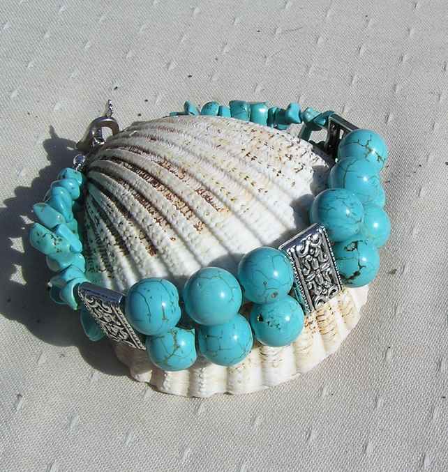 Turquoise Magnesite Gemstone Crystal Bracelet - Tropical Tide