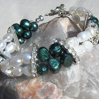 "Teal & White Freshwater Pearl Bracelet - ""Teal Clouds"""