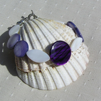 "Violet & White Mother of Pearl Bracelet - ""Sea Berry"" Special Offer Price"