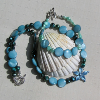 "Necklace & Bracelet Set - Freshwater Pearl and Mother of Pearl - ""Alpine Skies"""