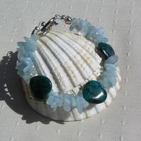 "Crystal Gemstone Bracelet, Blue Jasper & Aquamarine ""Angel Heart"""