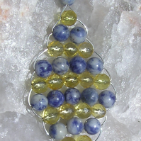 Citrine & Blue Sodalite - Beaded Woven Gemstone Leaf Pendant