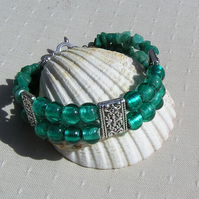 "Gemstone Crystal Bracelet, Amazonite & Green Silverfoil Beaded ""Calypso"""