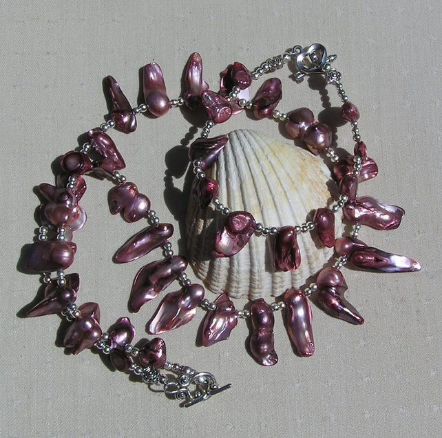 "Pearl Necklace & Bracelet Set, Cranberry Pearl and Sterling Silver ""Vogue"""