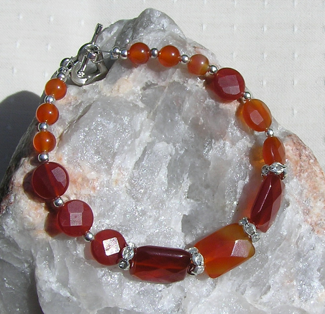 "Red Agate (Orange) Crystal Gemstone Bracelet ""Tuscan Flame"""