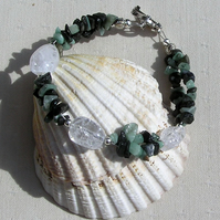 "Emerald & Crackled Clear Quartz Crystal Gemstone Bracelet ""Sage Dew"""