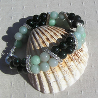 "Amazonite & Green Goldstone Crystal Gemstone Bracelet ""Wild Mint"""