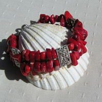 "Natural Red Coral & Silver Gemstone Bracelet ""Symphony in Red"""