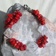 "Crystal Gemstone Bracelet, Clear Quartz & Natural Red Coral ""Crimson Ice"""