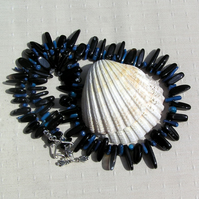 "Blue Coral & Black Onyx Crystal Gemstone Statement Necklace ""Blueberry Punch"""