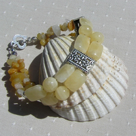 "Honey Quartz & Yellow Jade Crystal Gemstone Bracelet ""Buttercup"""