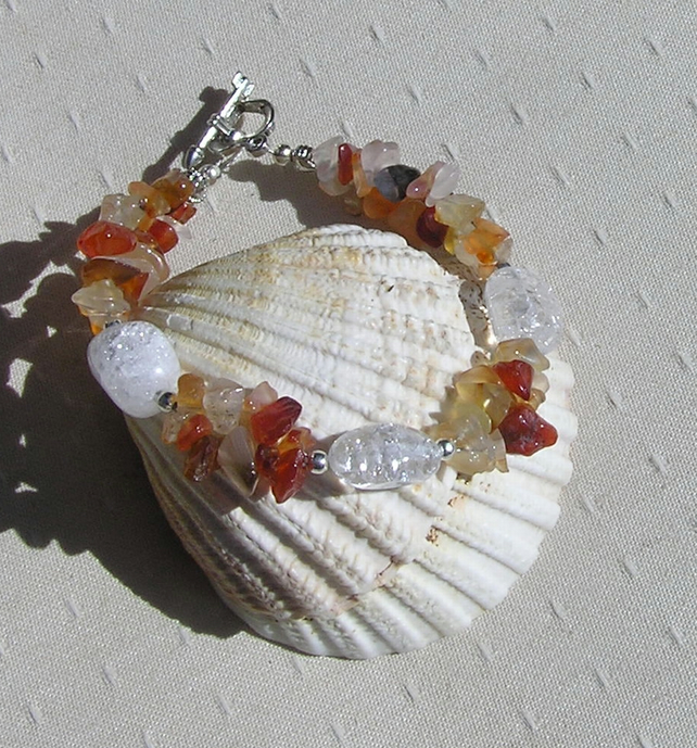 "Carnelian & Crackled Clear Quartz Crystal Gemstone Bracelet ""Citrus Dew"""