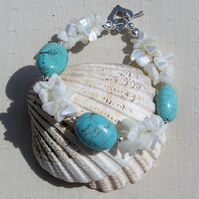 "Turquoise Magnesite & White Mother of Pearl Gemstone Bracelet ""Tropicana"""