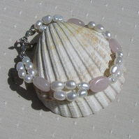"Rose Quartz & White Freshwater Pearl Crystal Gemstone Bracelet ""First Love"""