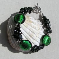 "Green Goldstone & Green Silverfoil Lampwork Beaded Gemstone Bracelet ""Impulse"""