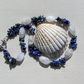 "Lapis Lazuli & Crackled Clear Quartz Crystal Gemstone Necklace ""Kheshed Dawn"""
