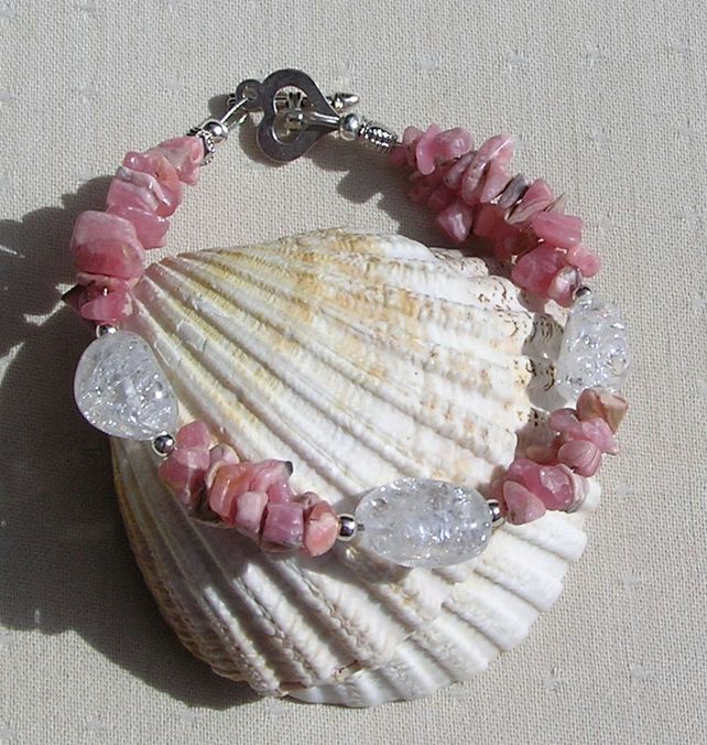 Pink Rhodochrosite & Crackled Clear Quartz Crystal Gemstone Bracelet