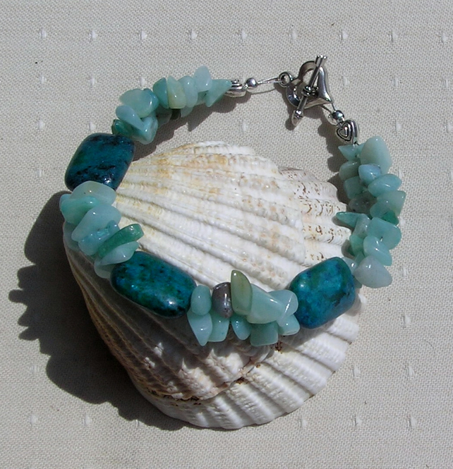 "Chrysocolla & Green Amazonite Crystal Gemstone Bracelet ""Wahdj"""