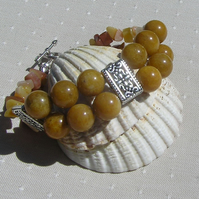 "Golden Jade Gemstone Chunky Beaded Bracelet ""Tuscan Dreams"""