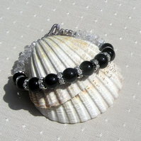 "Black Onyx & Clear Quartz Crystal Gemstone Bracelet ""Eclipse"""