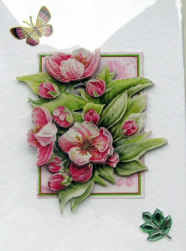 Hand Crafted 3D Decoupage Card, Blank for any Occasion (2052)