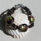 "Red Garnet & Two-Tone Silverfoil Lampwork Beaded Gemstone Bracelet ""Vigour"""
