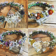 Wild Natural Handmade Floral Full Crown. Autumn Festival Bride. Dried Flowers