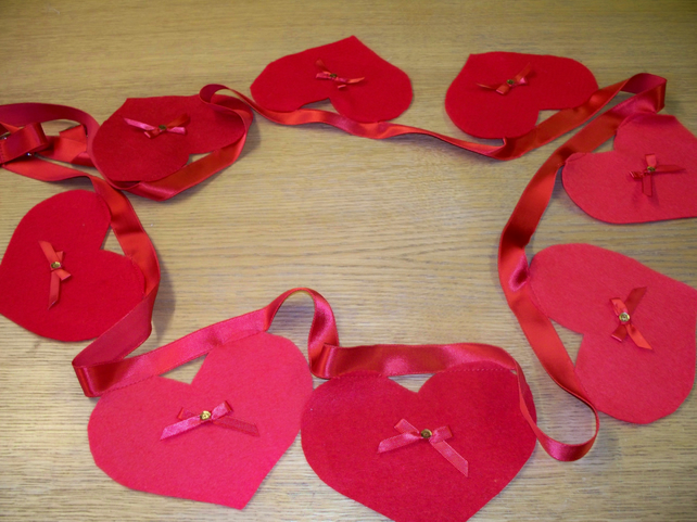 Red heart bunting or wall hanging