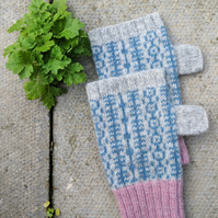 Pink and grey Lambswool fingerless mittens, gloves