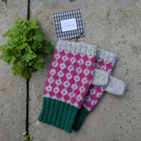 Grey and purple fingerless gloves with green rib, Lambswool wrist warmers